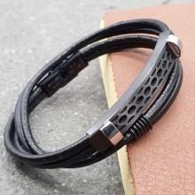 Черный браслет из гладкой кожи на два оборота Блейд