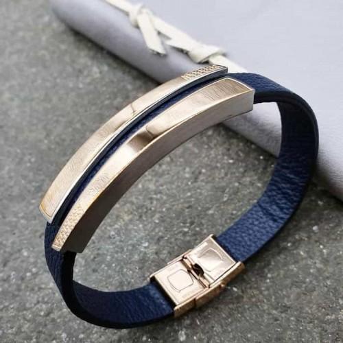 Женский браслет из натуральной кожи темно-синего цвета