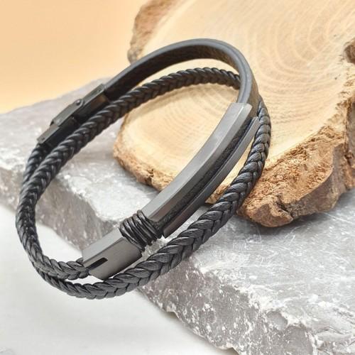Мужской браслет из гладкой и плетеной кожи Черная гора