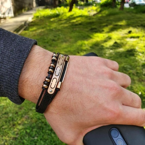 Кожаный браслет на руку мужской
