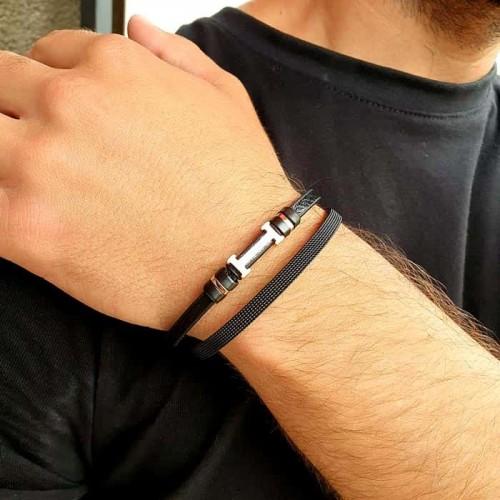 Кожаный браслет на руку с элементами из хирургической стали Гайрат