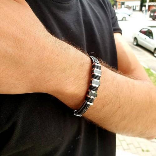 Кожаный мужской браслет под гравировку черная сталь Альсварт