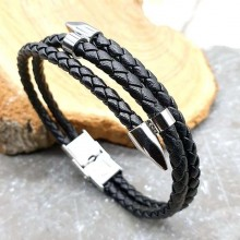 Мужской кожаный браслет плетенка с элементами из ювелирной стали Чингиз-хан