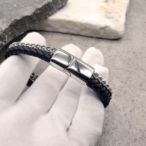 Кожаный браслет на руку с цепочкой-декором из хирургической стали Марс