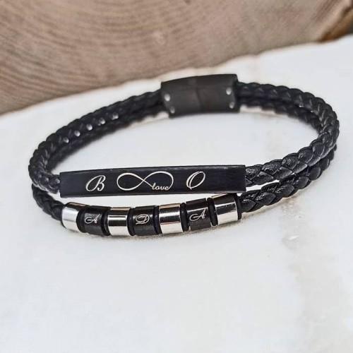 Кожаный браслет под гравировку с металлической пластиной и бусинами Драган