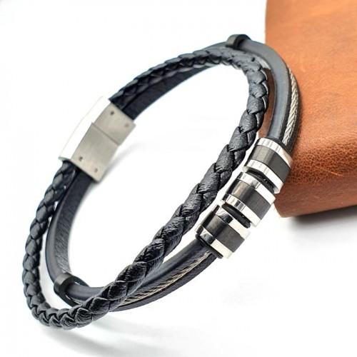 Кожаный браслет для гравировки на магнитном замке