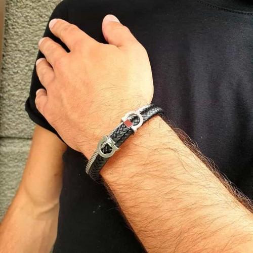 Браслет на руку для мужчин из плетеной кожи и стали Дункан