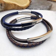 Браслет кожаный двухрядный со стальной пластиной под гравировку в двух цветах