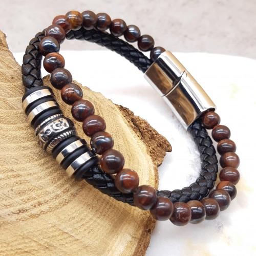 Браслет двухрядный из кожи и натуральных камней Дигби
