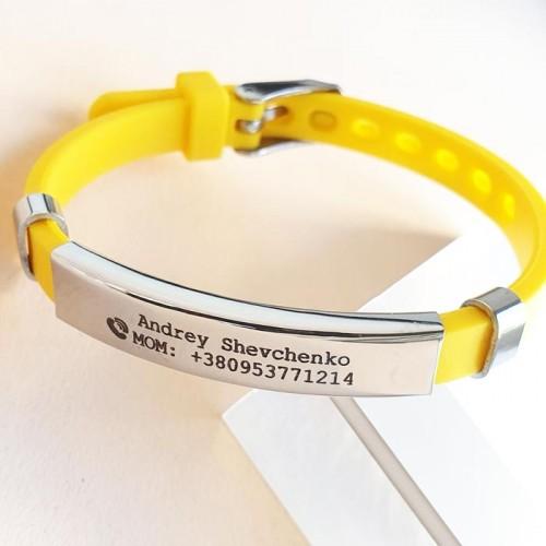 Детские браслеты непотеряйки для безопасности с пластиной под гравировку данных
