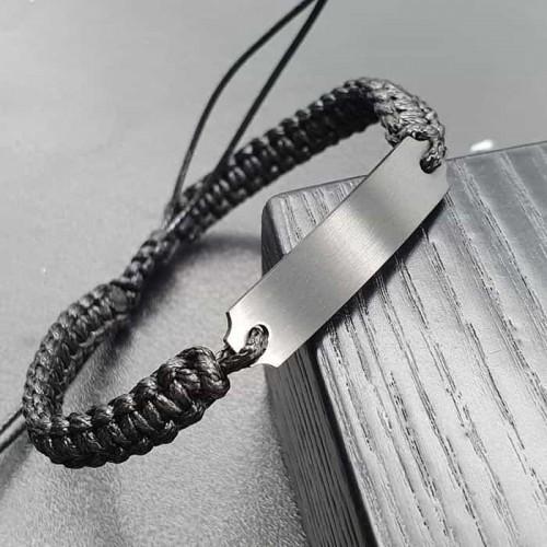 Браслет из текстильных шнуров с пластиной под гравировку