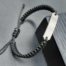 Браслет из плетеного шнура с пластиной под лазерную гравировку