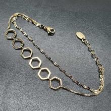 Браслет-цепочка из ювелирного сплава Шестиугольники-соты