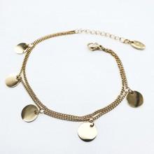 Тонкий браслет-цепочка на руку с подвесками из стали