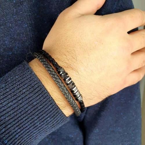 Браслет из плетеной кожи мужской на руку со стальной застежкой