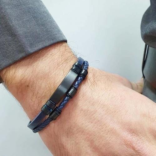 Двойной браслет из плетеной натуральной кожи синего цвета