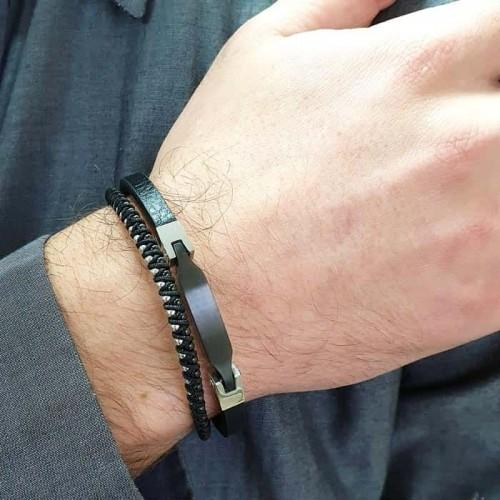 Кожаный браслет на руку с элементами из хирургической стали Лодур