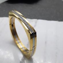 Браслет стальной с кубиками циркониями PVD покрытие золото