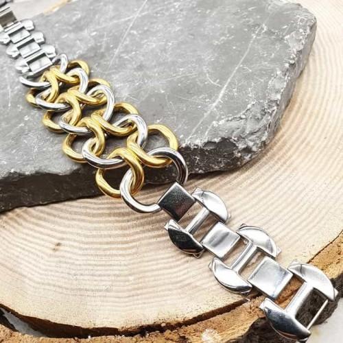 Стальной браслет-цепочка с широкими звеньями Фелис