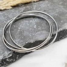 Жесткий браслет из трех колец медицинская сталь