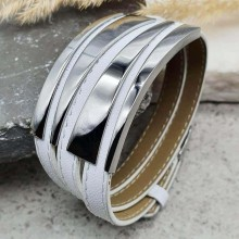 Белый кожаный браслет на руку Латифа