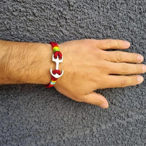Браслет-феничка из хлопка для мужчин бордового цвета Якорь