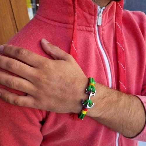 Браслет-феничка из хлопка для мужчин зелёного цвета Якорь
