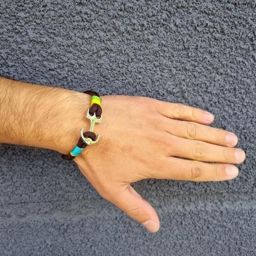 Браслет-феничка из хлопка для мужчин коричневого цвета Якорь