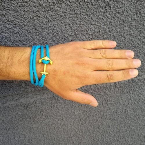 Браслет-феничка из хлопка для мужчин голубого цвета Золотой Якорь