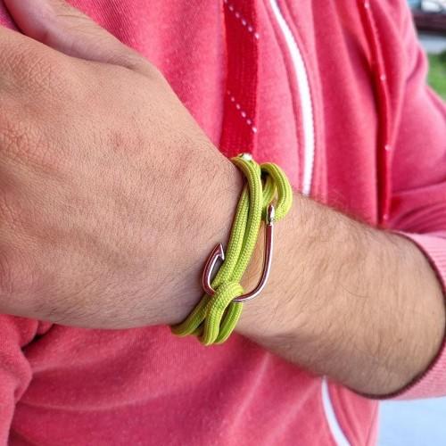 Браслет-феничка из хлопка  для мужчин зелёного цвета