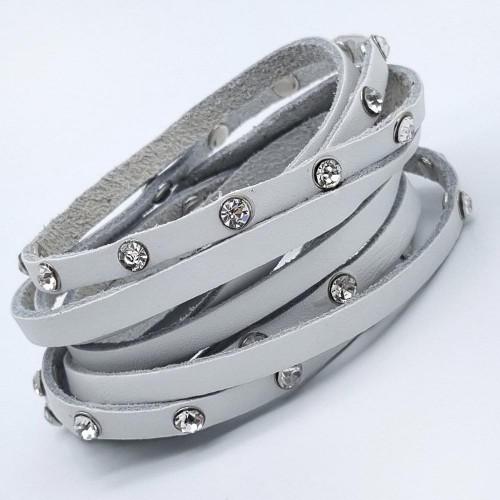 Кожаный браслет в несколько оборотов белый