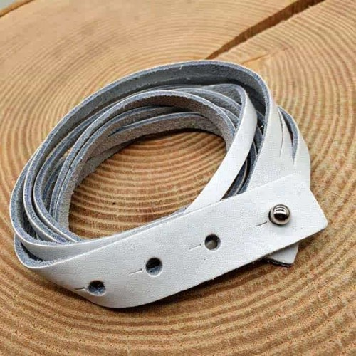 Кожаный браслет-намотка белый унисекс