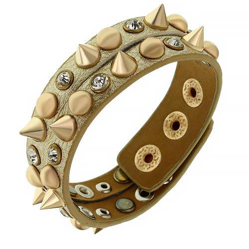 Кожаный браслет с шипами золотистый