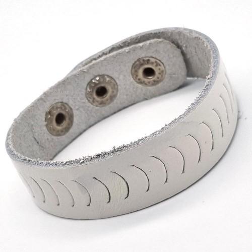 Кожаный браслет-напульсник белый на три кнопки унисекс