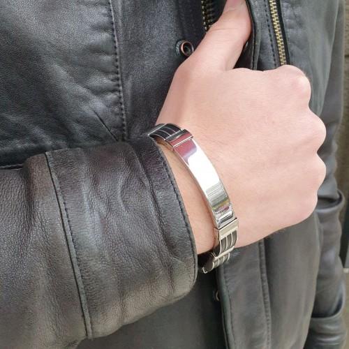 Мужской браслет под гравировку из медицинской стали и каучука Кронид