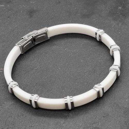 Каучуковый браслет со вставками из медицинской стали белый
