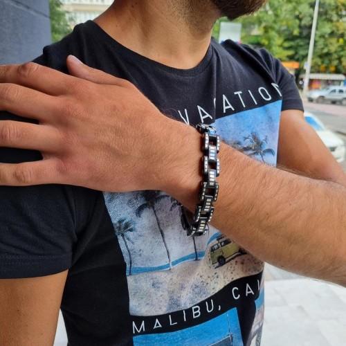 Мужской браслет из стали и органичного пластика Лукас