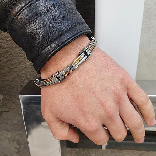 Мужской массивный браслет из стали
