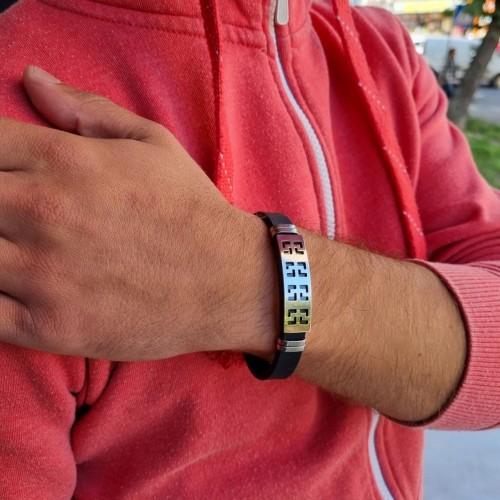 Каучуковый браслет с элементами из медицинской стали Архонт