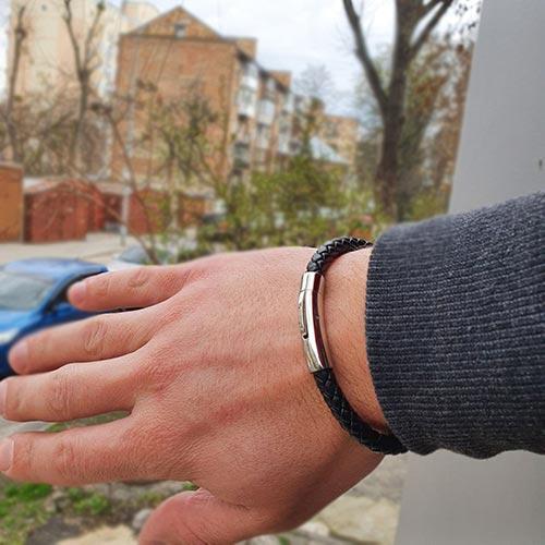 Кожаный браслет мужской business casual