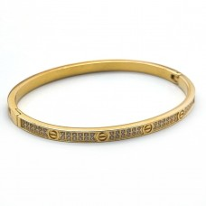 Стальной женский браслет с циркониями