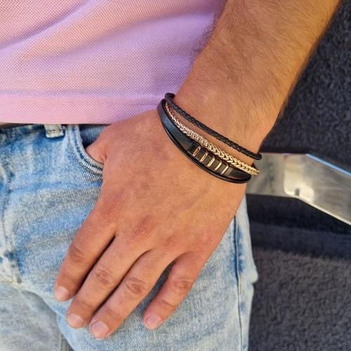 Мужской браслет из гладкой кожи и стали с о стойким напылением Геральт