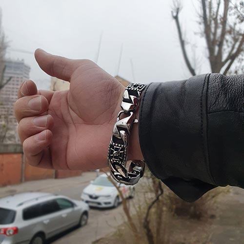Мужской байкерский браслет из стали Жак Моле