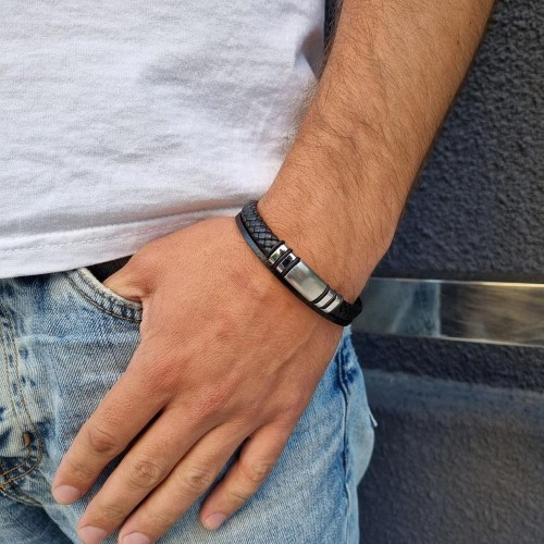 Мужской браслет из черной плетеной и гладкой кожи под гравировку Максимум