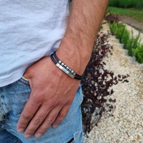 Мужской браслет из натуральной кожи и стали под гравировку Лукас