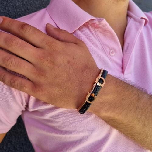 Браслет на руку для мужчин из плетеной кожи и стали розовое золото Маркус