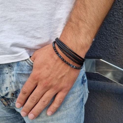 Мужской многослойный браслет с плетеной кожей и бусинами