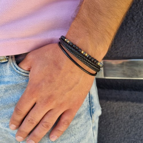 Многослойный браслет для мужчин со стойким напылением натуральная кожа и бусины