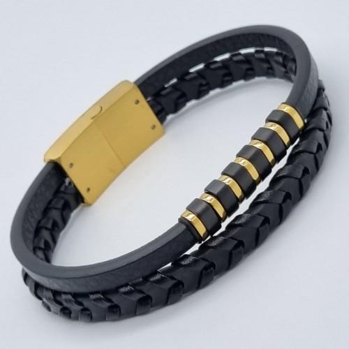 Кожаный браслет для мужчин из стальной вставкой золотого цвета Крит