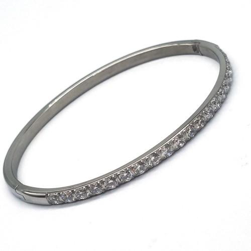 Браслет каркасный стальной с дорожкой из кристаллов циркония